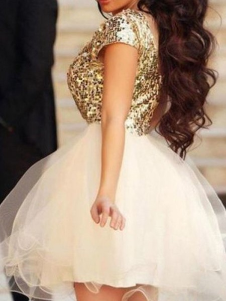 A-Line/Princess Champagne Tulle Short/Mini Homecoming Dresses with Sequin