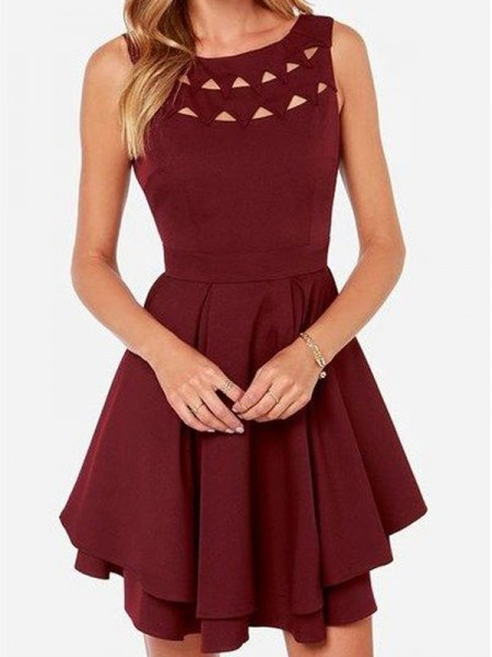A-Line/Princess Burgundy Jersey Short/Mini Homecoming Dresses