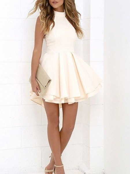 A-Line/Princess Ivory Satin Short/Mini Homecoming Dresses