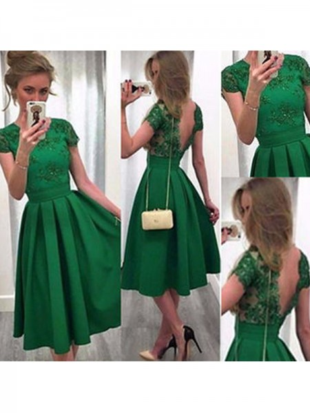 A-Line/Princess Dark Green Satin Short/Mini Homecoming Dresses with Lace