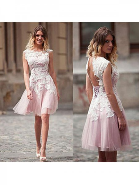 A-Line/Princess Pink Tulle Short/Mini Homecoming Dresses with Applique