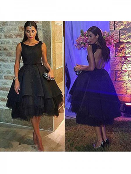 A-Line/Princess Black Tulle Short/Mini Homecoming Dresses