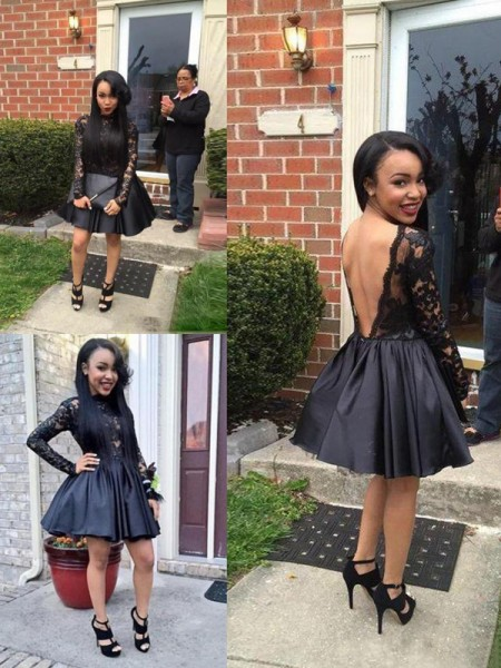 A-Line/Princess Black Satin Short/Mini Homecoming Dresses with Lace