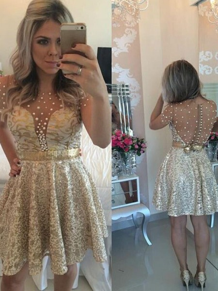 A-Line/Princess Gold Satin Short/Mini Homecoming Dresses with Sequin