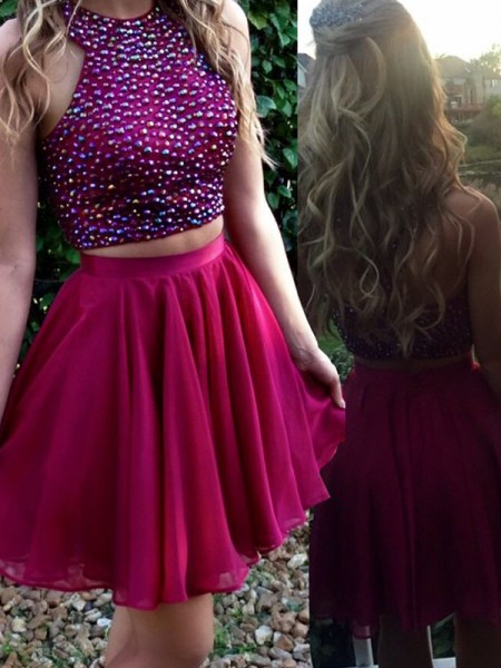 A-Line/Princess Fuchsia Chiffon Short/Mini Homecoming Dresses with Beading