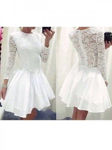 A-Line/Princess White Chiffon Short/Mini Homecoming Dresses with Lace