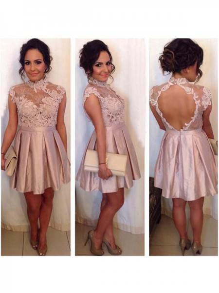 A-Line/Princess Pink Satin Short/Mini Homecoming Dresses with Lace