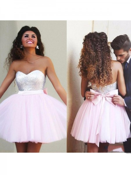 A-Line/Princess Pink Tulle Short/Mini Homecoming Dresses with Beading