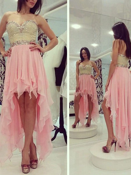 A-Line/Princess Pink Chiffon Asymmetrical Homecoming Dresses with Beading
