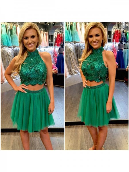 A-Line/Princess Dark Green Tulle Short/Mini Homecoming Dresses with Beading