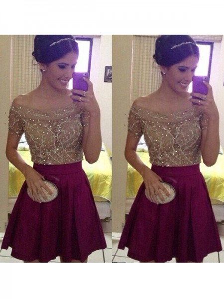 A-Line/Princess Burgundy Satin Short/Mini Homecoming Dresses with Beading