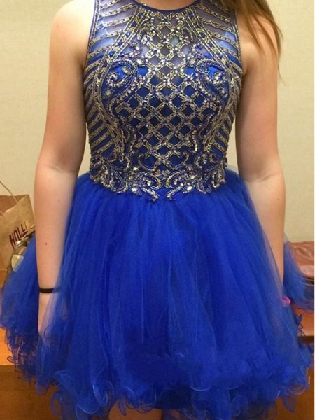 A-Line/Princess Royal Blue Tulle Short/Mini Homecoming Dresses with Beading