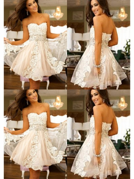 A-Line/Princess White Tulle Short/Mini Homecoming Dresses with Applique