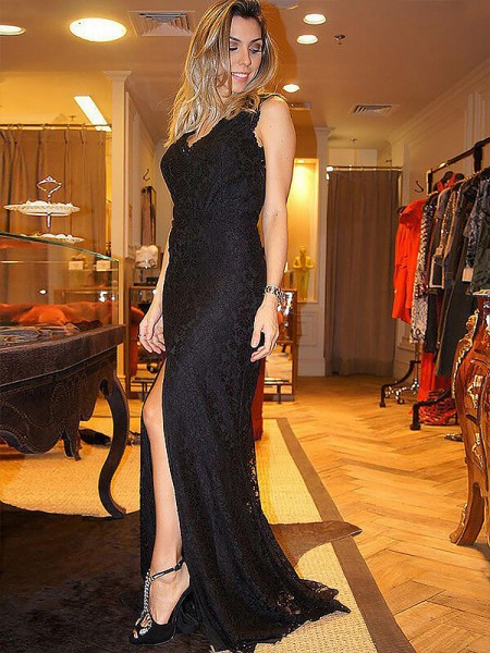 Sheath/Column Black Lace Sweep/Brush Train Dresses