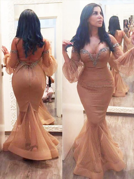 Trumpet/Mermaid Champagne Silk like Satin Floor-Length Dresses with Beading