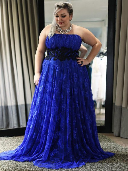 A-Line/Princess Royal Blue Lace Floor-Length Dresses with Applique
