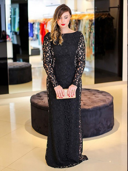 Sheath/Column Black Lace Floor-Length Dresses