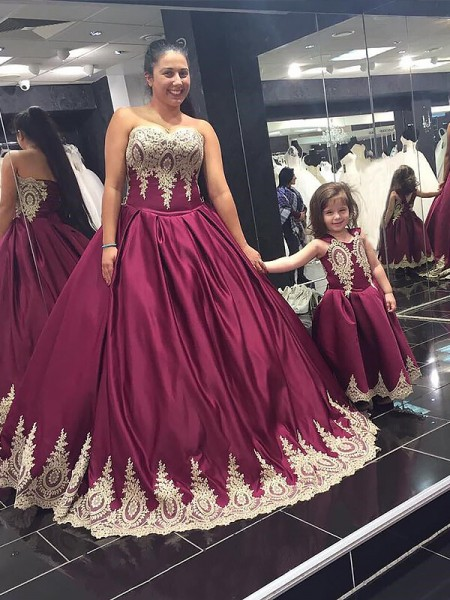 Ball Gown Burgundy Satin Floor-Length Dresses with Applique
