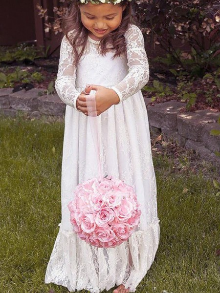 A-Line/Princess Ivory Lace Floor-Length Flower Girl Dresses with Bowknot