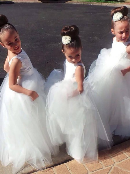 Ball Gown White Tulle Floor-Length Flower Girl Dresses