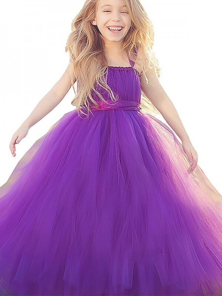 Ball Gown Fuchsia Tulle Floor-Length Flower Girl Dresses with Bowknot