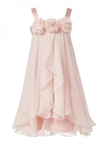 A-Line/Princess Pink Chiffon Floor-Length Flower Girl Dresses with Hand-Made Flower