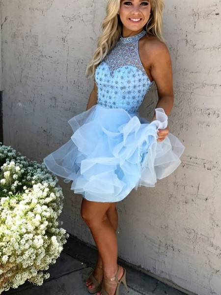 A-Line/Princess Light Sky Blue Tulle Short/Mini Homecoming Dresses with Beading