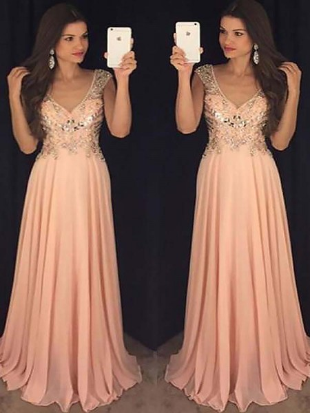A-Line/Princess Sleeveless V-neck Chiffon Paillette Floor-Length Dresses