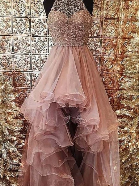 Ball Gown Halter Sleeveless Beading Asymmetrical Organza Dresses