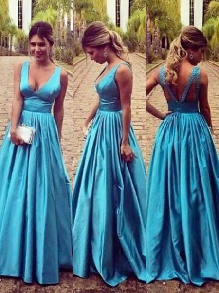 A-Line/Princess Sleeveless V-neck Taffeta Ruched Floor-Length Dresses