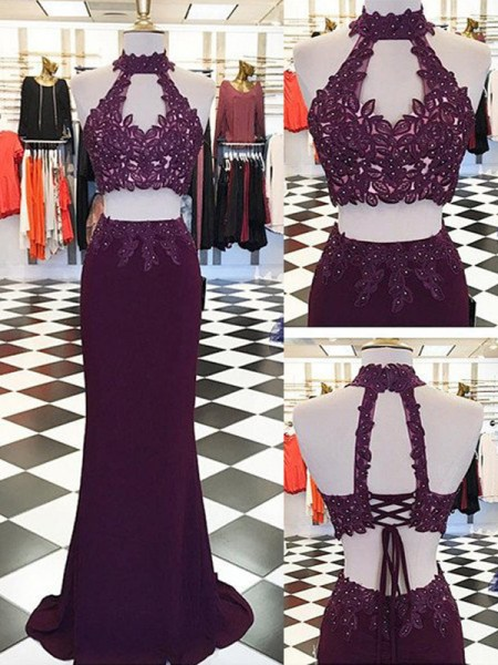 Sheath/Column Burgundy Chiffon Floor-Length Dresses with Applique