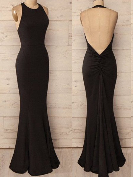 Trumpet/Mermaid Black Spandex Floor-Length Dresses