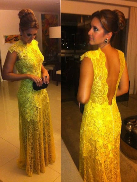 A-Line/Princess Yellow Lace Floor-Length Dresses with Lace