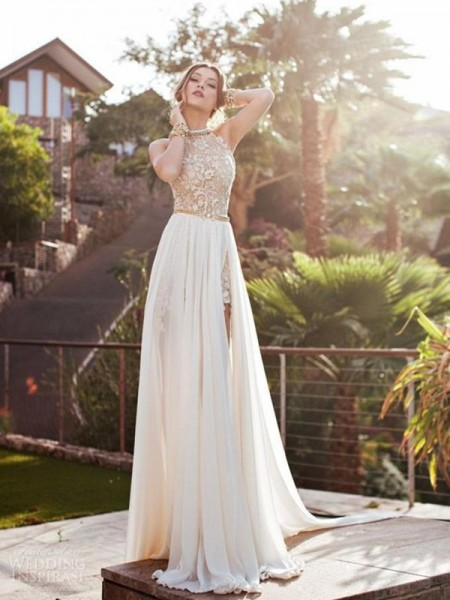A-Line/Princess Ivory Chiffon Sweep/Brush Train Dresses with Lace