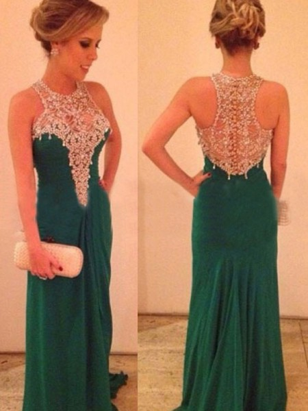Sheath/Column Green Chiffon Sweep/Brush Train Dresses with Beading
