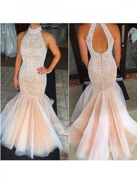 Trumpet/Mermaid Pearl Pink Tulle Floor-Length Dresses with Beading