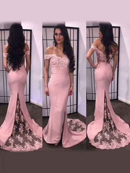 Trumpet/Mermaid Pink Satin Sweep/Brush Train Dresses with Lace