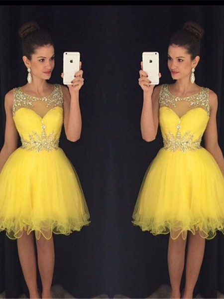 A-Line/Princess Yellow Tulle Short/Mini Homecoming Dresses with Beading