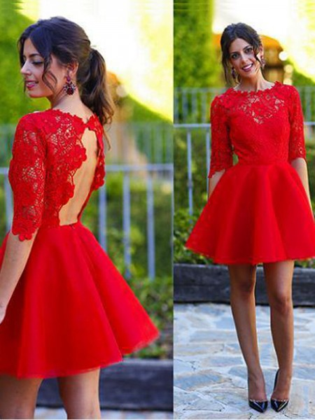 A-Line/Princess Red Lace Short/Mini Homecoming Dresses with Lace
