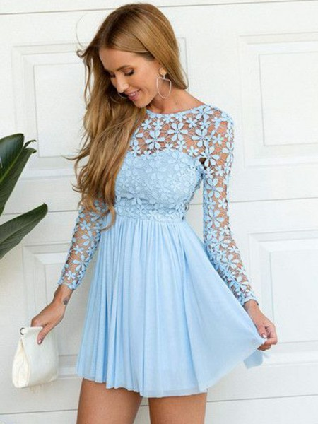 A-Line/Princess Blue Chiffon Short/Mini Homecoming Dresses with Lace