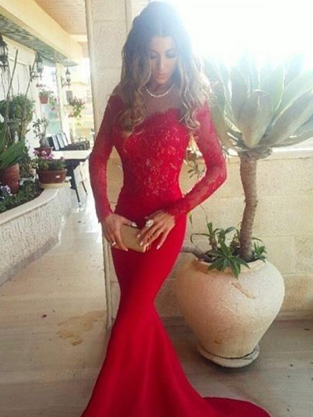 Trumpet/Mermaid Red Elastic Woven Satin Sweep/Brush Train Dresses with Lace