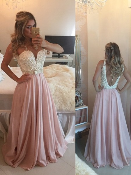 A-Line/Princess Pearl Pink Chiffon Floor-Length Dresses with Pearls