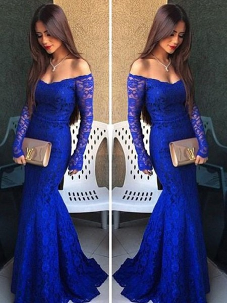 Trumpet/Mermaid Royal Blue Lace Floor-Length Dresses with Lace