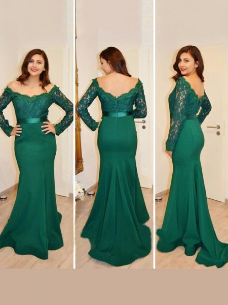 Trumpet/Mermaid Green Satin Floor-Length Dresses with Applique