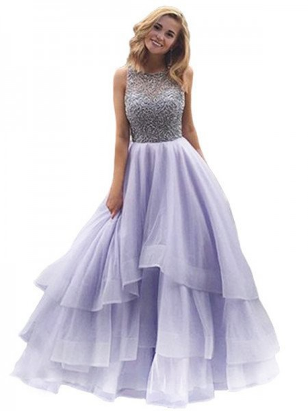 Ball Gown Lilac Organza Floor-Length Dresses with Beading