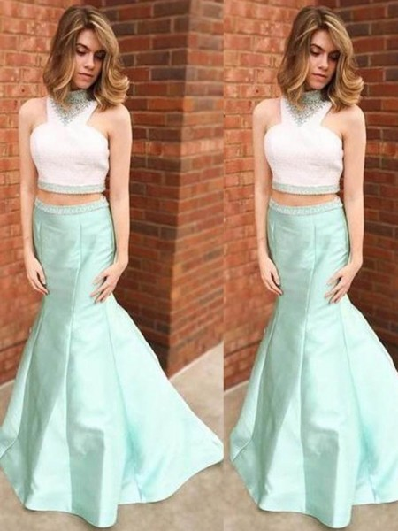 Trumpet/Mermaid Blue Satin Floor-Length Dresses with Beading
