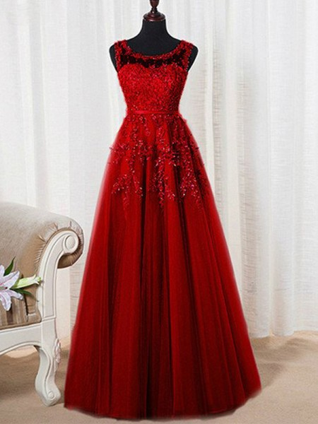 A-Line/Princess RedTulle Floor-Length Dresses with Beading