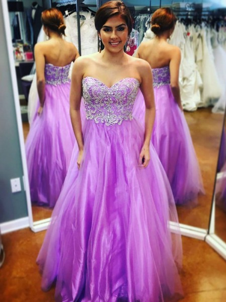 A-Line/Princess Lilac Tulle Floor-Length Dresses with Applique