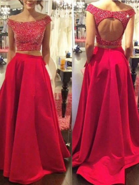 A-Line/Princess Red Satin Sweep/Brush Train Dresses with Beading