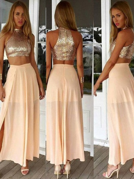 A-Line/Princess Pearl Pink Chiffon Ankle-Length Dresses with Sequin
